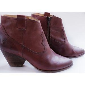 Frye Reina Chestnut Brown Western Ankle Bootie 10M